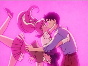 ChibiUsa kissing Dad