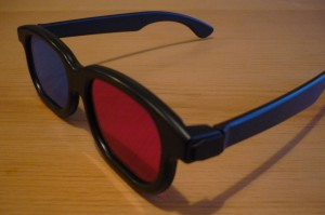 Iconic blue and red 3D glasses