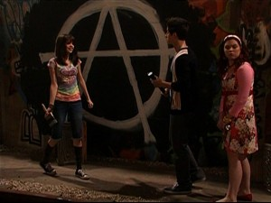 Alex Russo paints an Anarchy Symbol in Wizards of Waverly Place