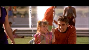 John Connor in a park with his daughter in the Terminator 2 alternate ending