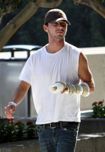 Shia LaBeouf with an injured hand