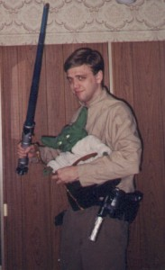 Yoda along with aDam dressed as Luke from Star Wars: The Empire Strikes Back