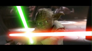 Yoda fight with a light saber in Star Wars: Episode II: Attack of the Clones