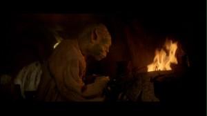 Yoda in his hut in Star Wars: Return of the Jedi