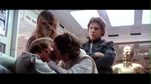 Leia kissing Luke in Star Wars: The Empire Strikes Back