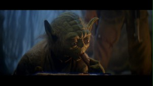 Yoda eating Luke's food in Star Wars: The Empire Strikes Back