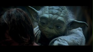Yoda on Luke's back in Star Wars: The Empire Strikes Back