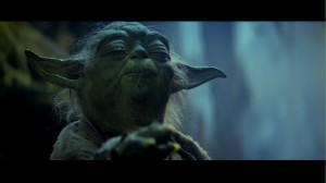 Yoda using the Force in Star Wars: The Empire Strikes Back