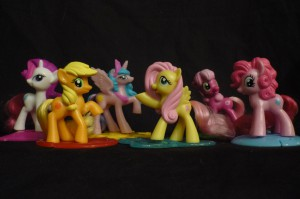 My Little Pony: Friendship is Magic McDonald's Happy Meal Toys: Rarity, Applejack, Princess Celestia, Fluttershy, Cheerilee and Pinkie Pie (not shown: Rainbow Dash and Twilight Sparkle)