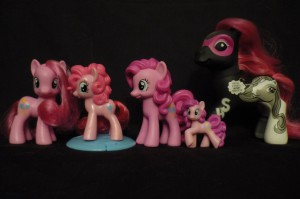 My Little Pony: Friendship is Magic Pinkie Pie Toys shown for scale: Standard Pony, McDonald's Happy Meal Pony, 5 Pony Gift Set Pony, Mini Figurine and classic sized 2008 SDCC Exclusive