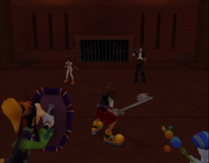 Kingdom Hearts - Sora, Goofie and Donald fight Yuffie and Leon from Final Fantasy