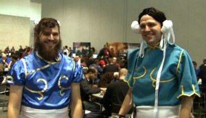 Two men dressed as Chun Li - Beard Li and Hung Li at PAX East 2011