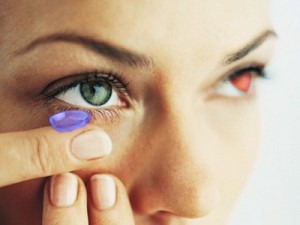 Girl Putting in Wii2 Contact Lenses