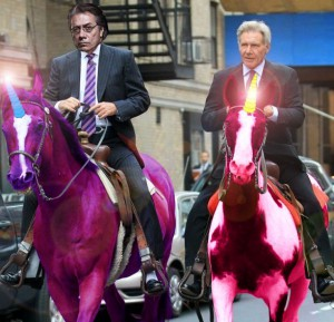 New Blade Runner movie featuring Edward James Olmos and Harrison Ford riding Unicorns