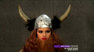 Selena Gomez dressed as a viking