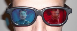 Avengers in Fake 3D with Chris Evans as Captain America and Robert Downey Junior as Iron Man