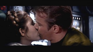 Princess Leia kissing Captain James T. Kirk