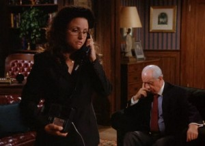 Elaine tells her friends she is not free because she needs to help Mr. Pitt find the right socks