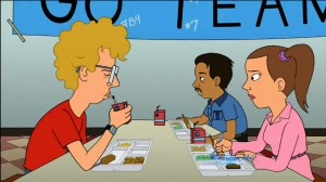 Napoleon Dynamite cartoon - Napoleon, Pedro and Deb in the cafeteria