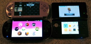 Playstation Vita size compared to a Playstation Portable and Nintendo 3DS