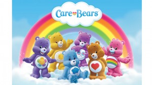 The cast of the new Care Bears TV series: Harmony Bear, Funshine Bear, Grumpy Bear, Share Bear, Tenderheart Bear and Cheer Bear