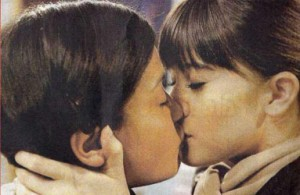Jenna-Louise Coleman sharing a lesbian kiss with a girl