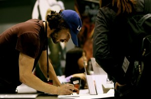 Shia LaBeouf signing his comic at Chicago Comic and Entertainment Expo