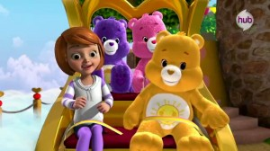 Care Bears Welcome to Care-A-Lot - Human girl, Harmony Bear, Cheer Bear and Funshine Bear