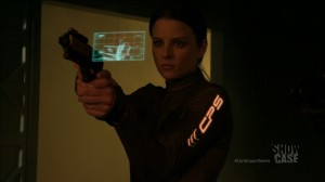 "Continuum ""A Stitch in Time"" - Rachel Nichols as Kiera Cameron with some cool tech"