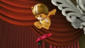 A male Funshine Bear flips a skateboard