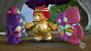 Care Bears Welcome to Care-a-Lot - Compassion -- Not! - Harmony Bear, Grumpy Bear, Funshine Bear, Share Bear and Cheer Bear