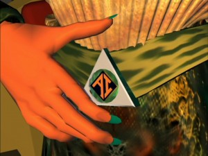 AndrAI's belt buckle from Reboot
