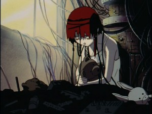 Lain hooked up to a computer