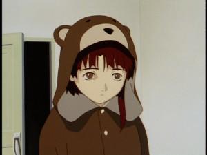 Lain in her famous Teddy Bear pyjamas