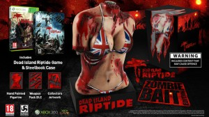This was planned as a collector's edition bonus for the U.K and Australian markets.  Public outcry caused the publisher to reconsider.  By the way, the zombies that killed her were able to penetrate her shoulder and expose part of her rib-cage, yet her bikini top is left intact?  What the fuck is it made out of?  Titanium?